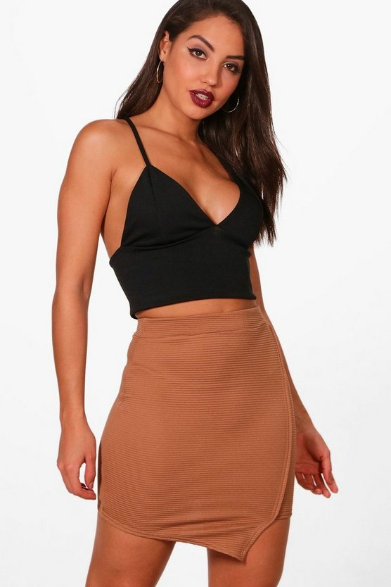 Hannah Asymetric Wrap Ribbed Mini Skirt