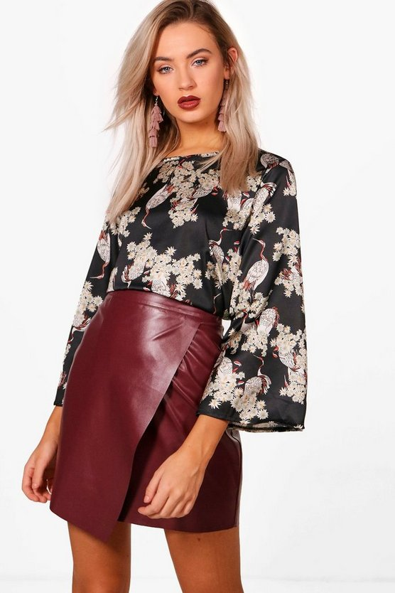 Lily Bird Oriental Print Wide Sleeve Top