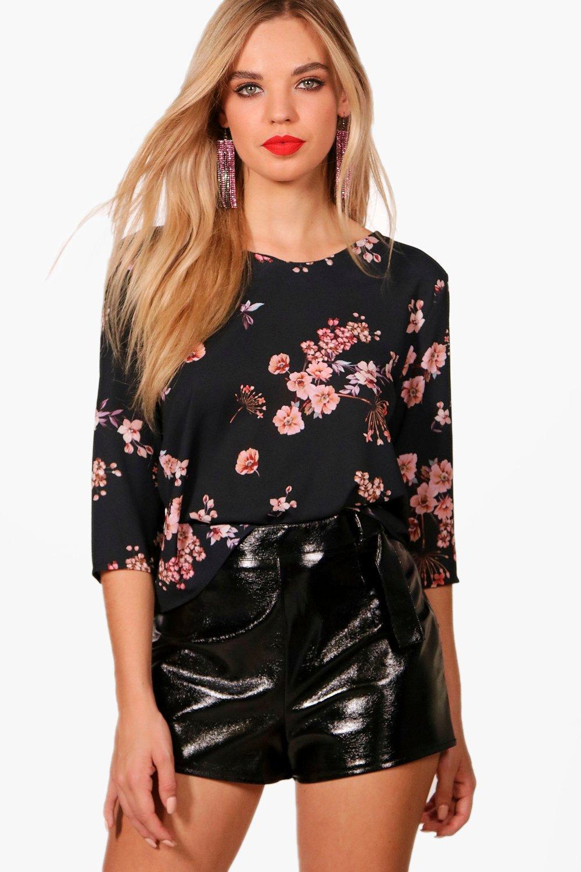 Womens Bluse mit Blumen-Print - schwarz - 40, Schwarz - Boohoo.com