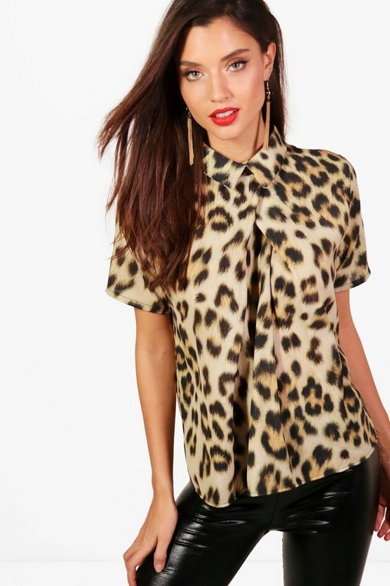 Lucy Leopard Short Sleeve Chiffon Blouse
