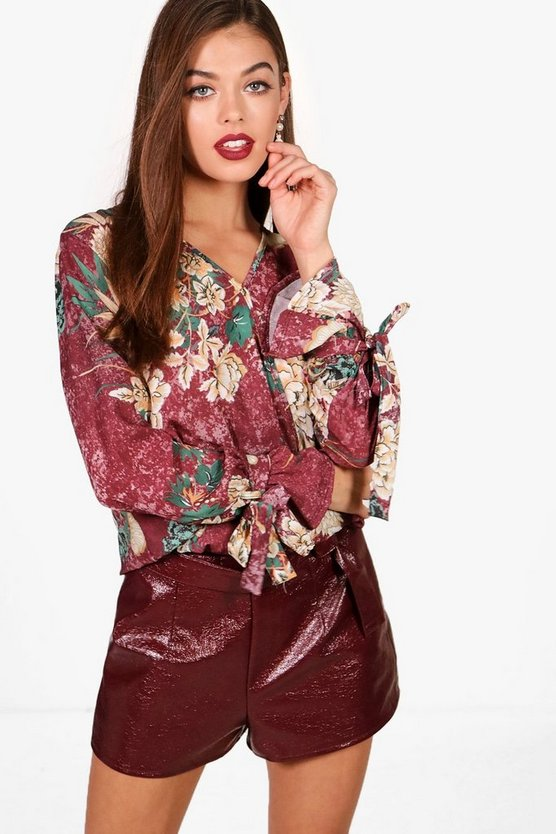 Floral Printed Wrap Over Blouse