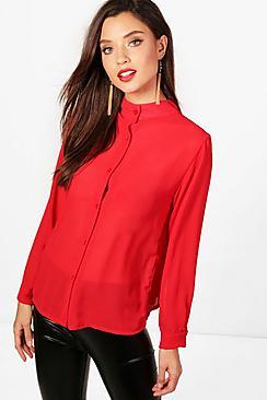 Knittrige Bluse mit Stehkragen - Boohoo.com