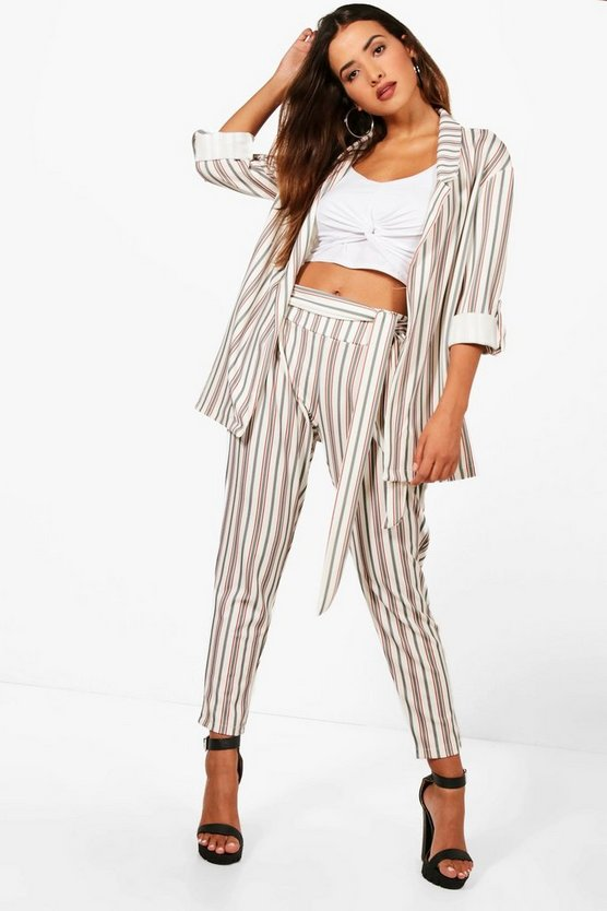 Sarah Stripe Belted Trouser