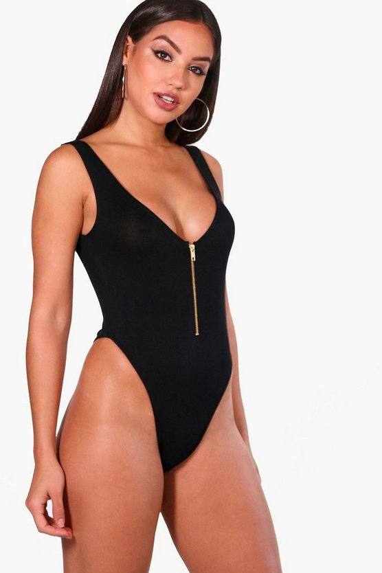 Zip Front High Rise Bodysuit