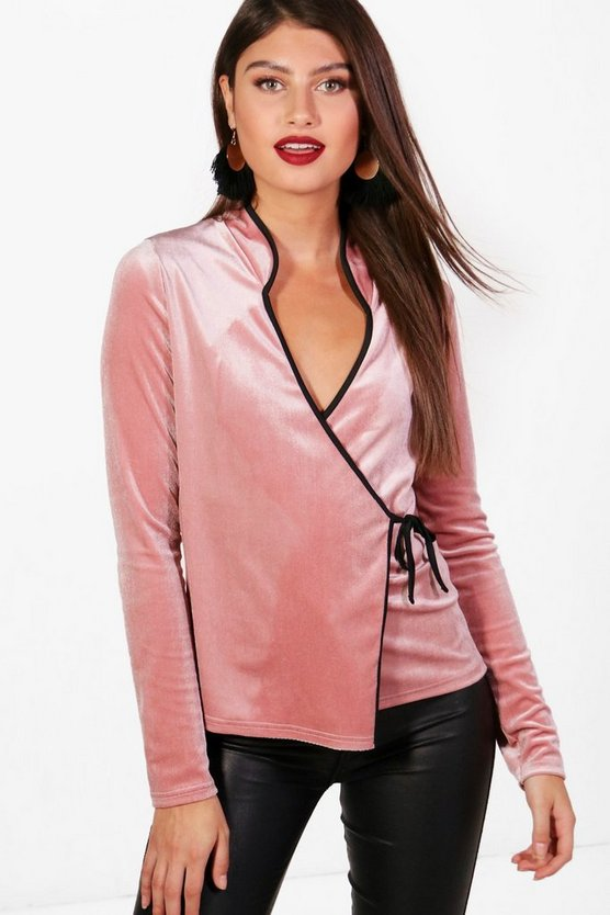 Lara Velvet Piped Oriental Wrap Top