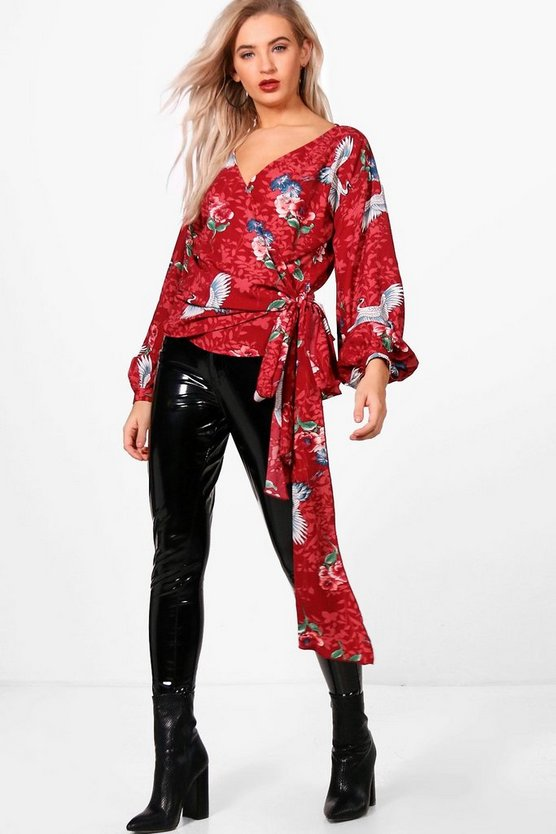Tia All Over Print Wrap Front Shirt