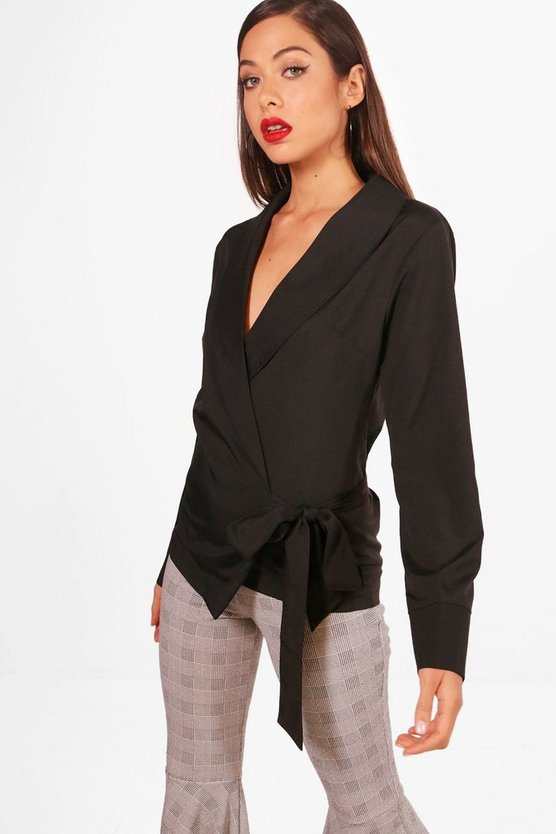 Heidi Collar Wrap Front Blouse