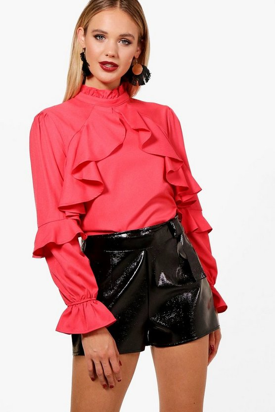 Lauren High Neck Ruffle Blouse