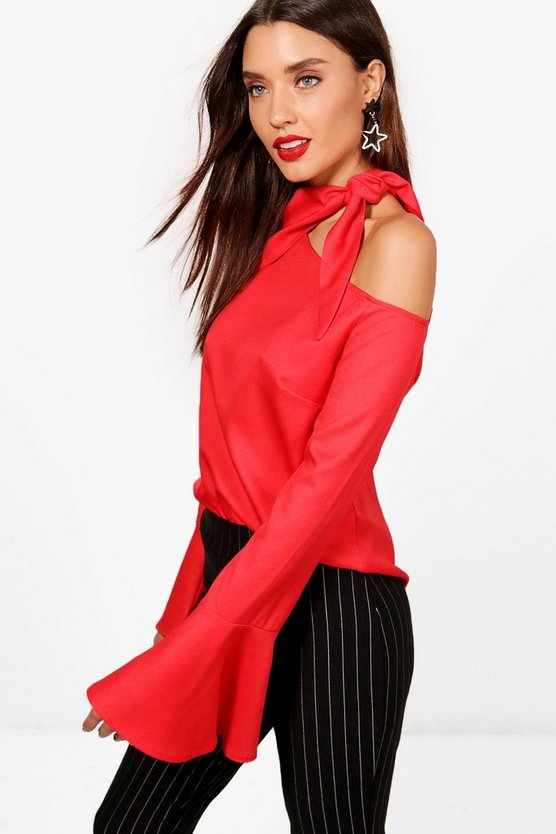 Francesca One Shoulder Neck Tie Blouse