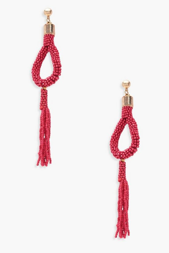 Paige Beaded Teardrops Tassel Earrings