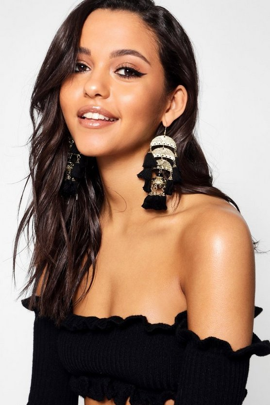 Rachel Tiered Statement Tassel Earrings