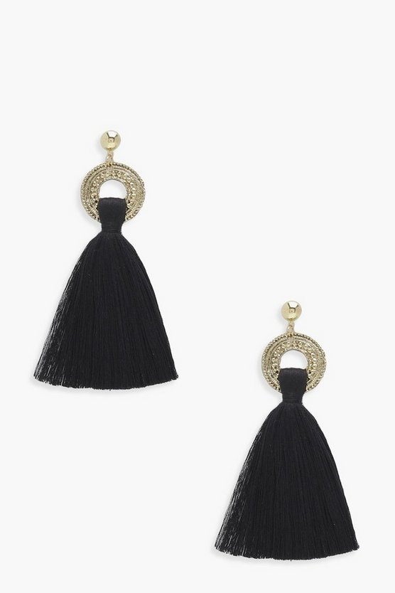 Poppy Engraved Loop Tassel Earrings