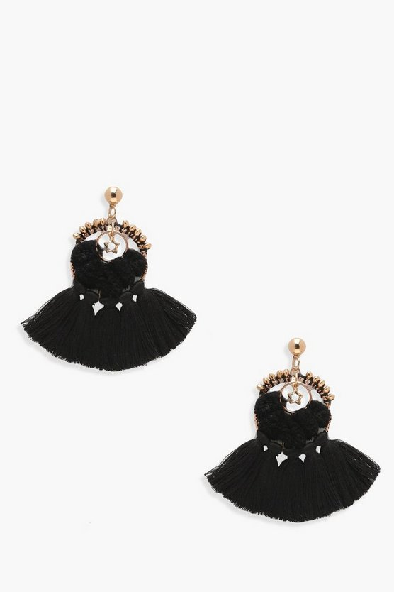 Kate Pom Star Tassel Fringe Earrings