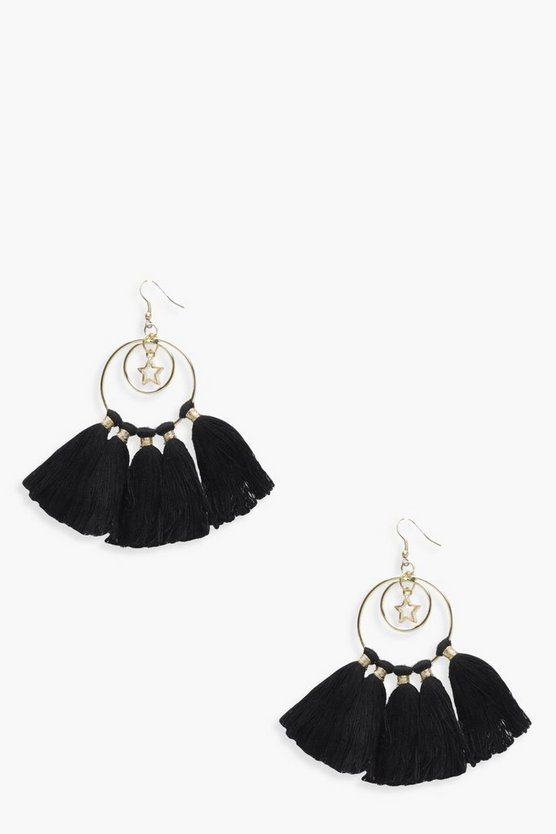 Laura Star Hoop Tassel Earrings