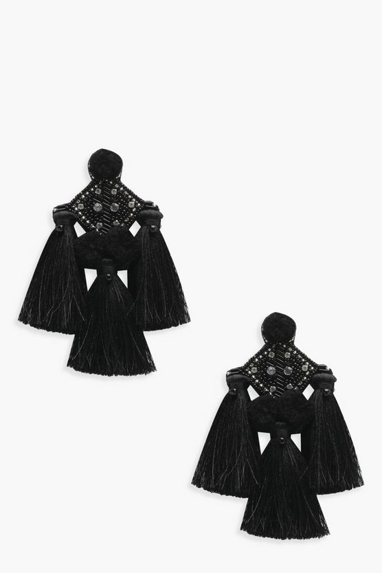 Sarah Pom Diamante Tassel Earrings