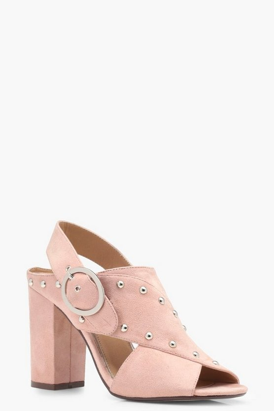 Ruby Stud Trim Cross Strap Sandals