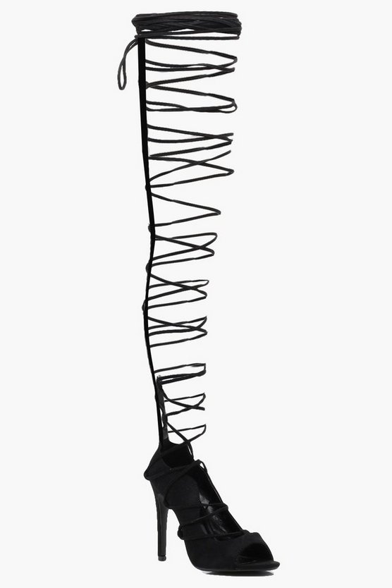 Harriet Lace Up Thigh High Gladiator Heels