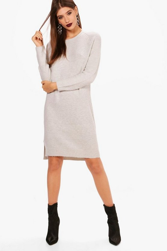 Anna Soft Knit Rib Midi Jumper Dress
