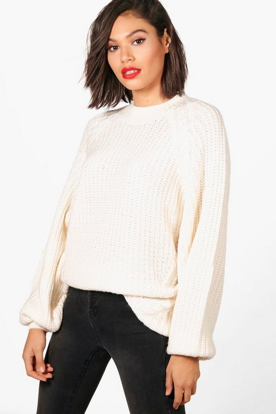 Ashleigh Balloon Sleeve Oversized Chunky Cable Jumper