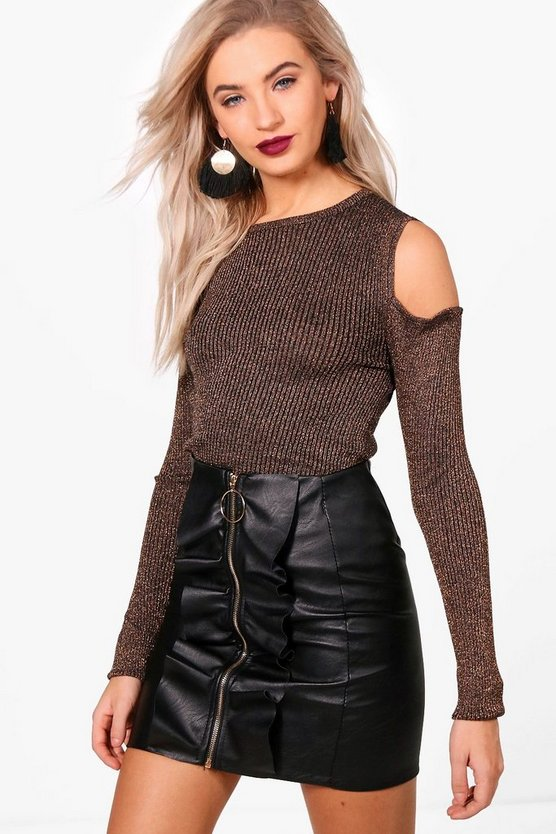 Kaley Metallic Rib Knit Cold Shoulder Jumper