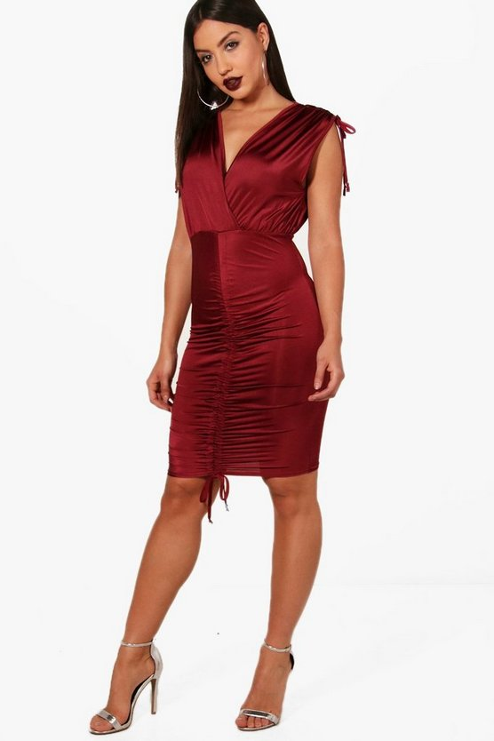 Vi Ruched Detail Plunge Neck Bodycon Dress