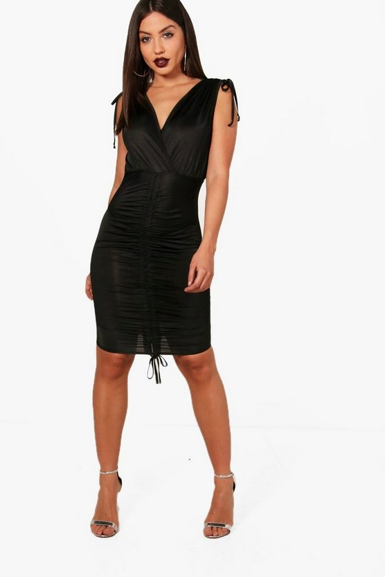 Ruched Detail Plunge Neck Bodycon Dress