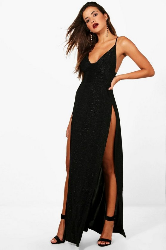 Ivy Metallic Plunge Neck High Split Maxi Dress