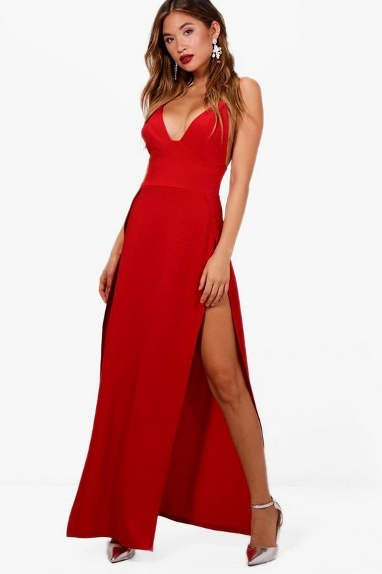 Ray Plunge Neck Super High Split Maxi Dress