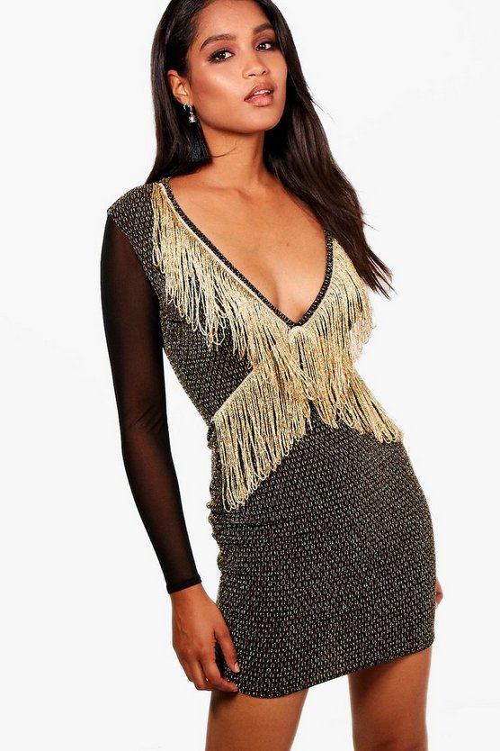Grace Tassel Detail Metallc Bodycon Dress