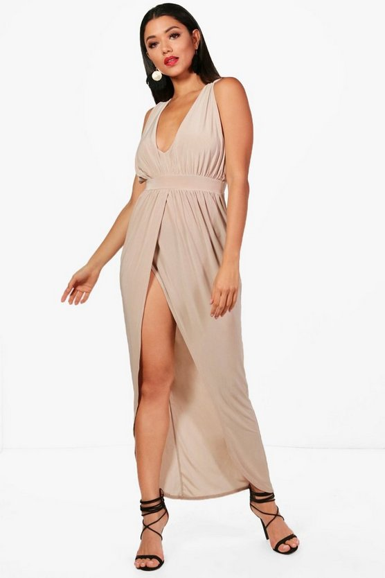 Slinky Plunge Wrap Maxi Dress