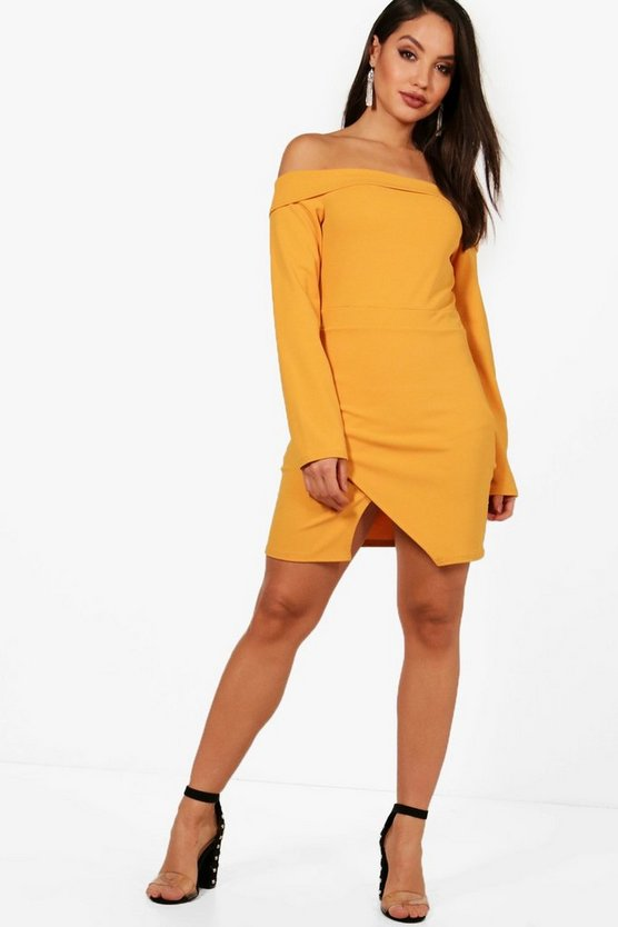Kayla Off the Shoulder Wrap Bodycon Dress