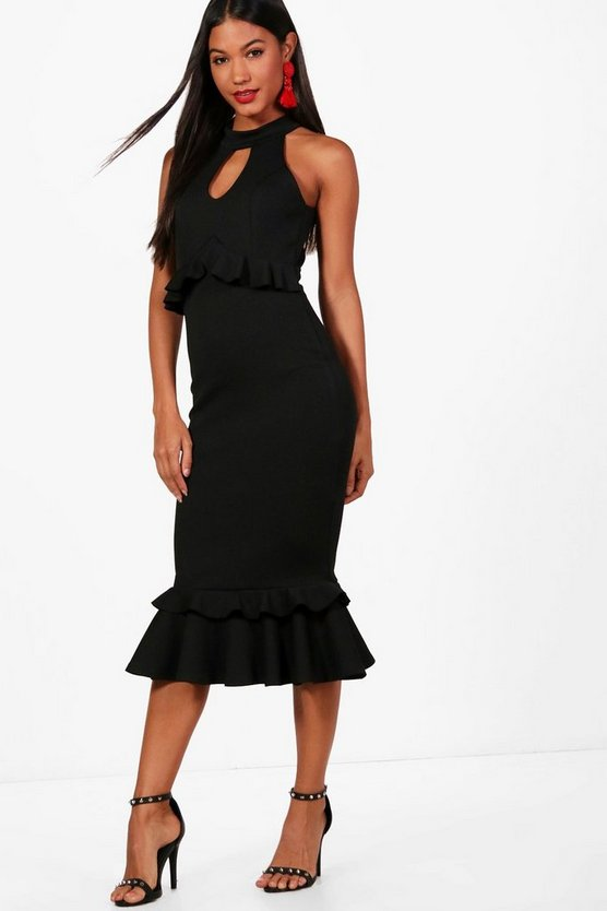 Frill Detail Midi Dress