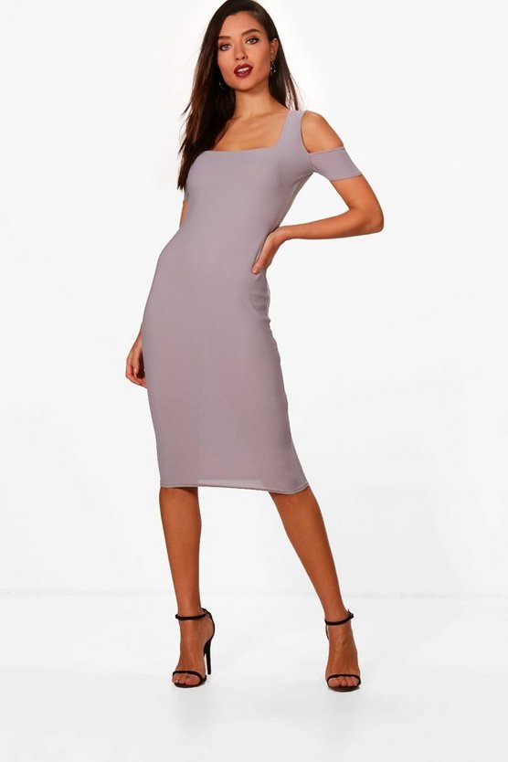 Square Neck Cold Shoulder Midi Dress