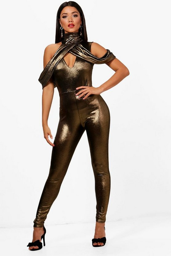 Linda High Neck Cold Shoulder Metallic Jumpsuit