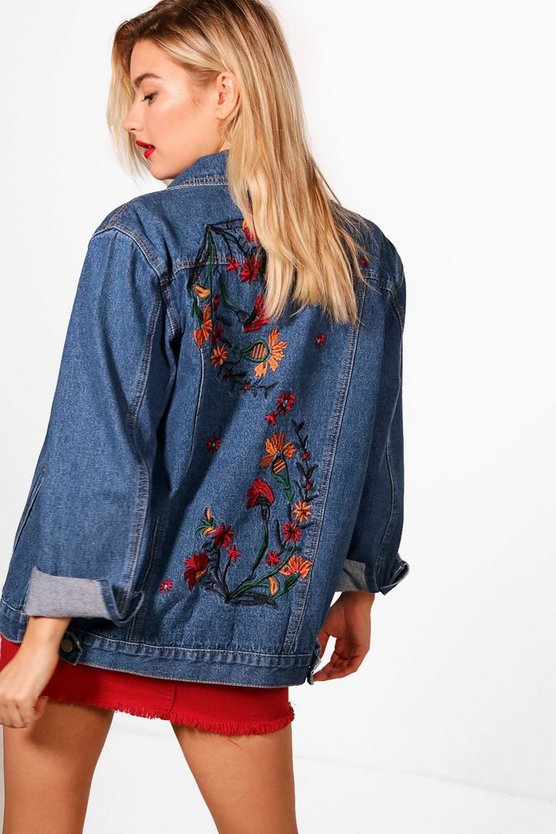 Laurel Folk Embroidered Denim Jacket
