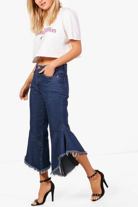 High Waisted Ruffle Hem Jeans