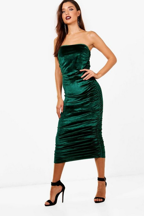 Dea Bandeau Velvet Ruched Detail Midi Dress