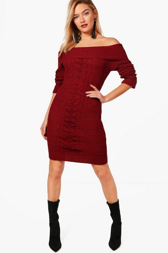 Thea Bardot Cable Front Marl Knit Dress