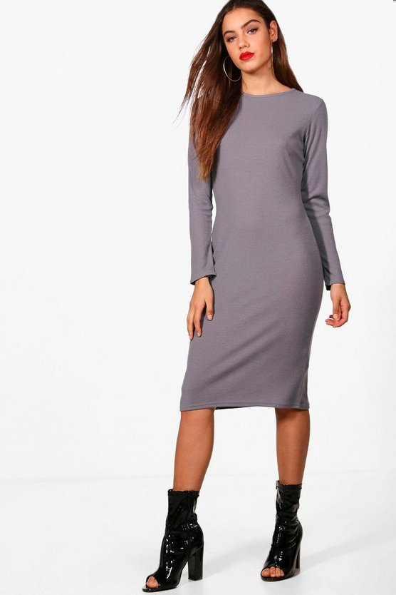 Midaxi Rib Knit Longsleeve Dress
