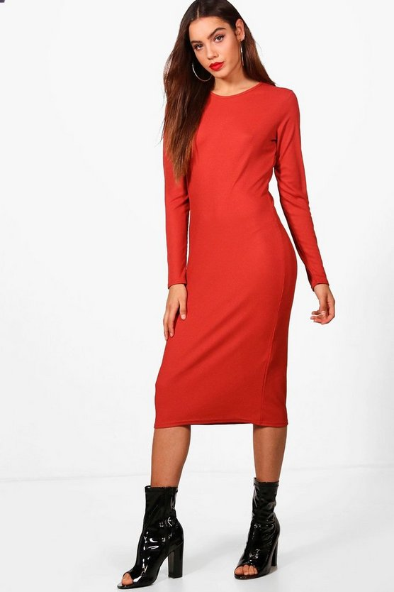 Rebecca Midaxi Rib Knit Longsleeve Dress