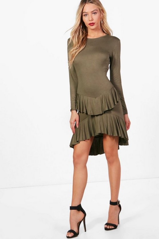 Ruffle Dipped Back Fit & Flare Dress
