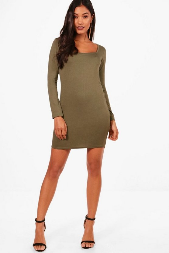 Vi Square Neck Long Sleeve Bodycon Dress