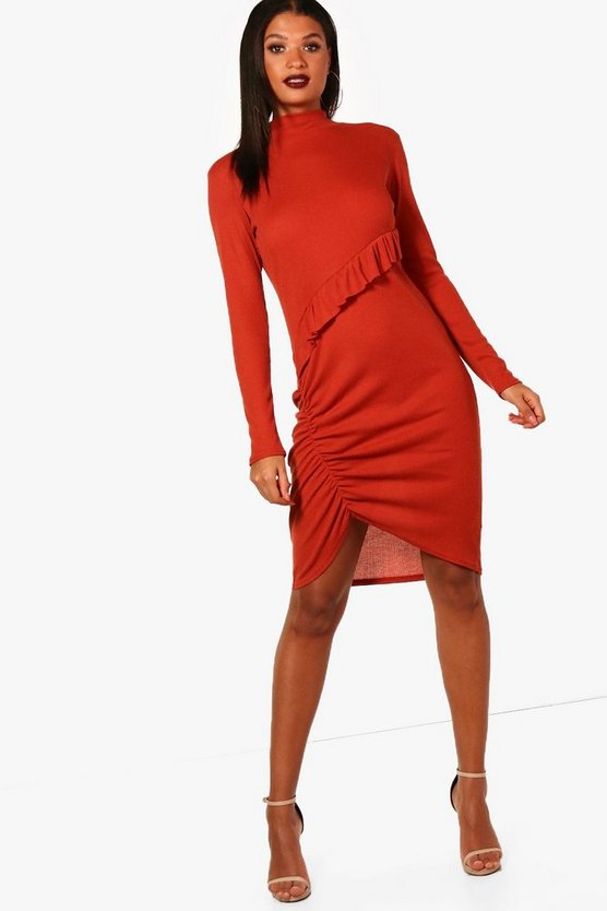 Jo High Neck Asymmetric Ruched Midi Dress