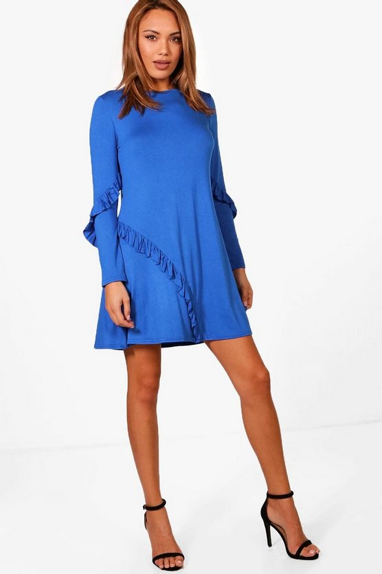 Tara Ruffle Insert Fit & Flare Mini Dress