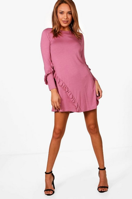 Ruffle Insert Fit & Flare Mini Dress