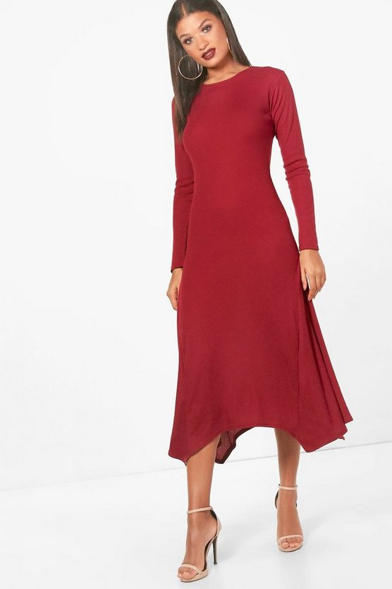 Ribbed Asymmetric Hem Midaxi Dress
