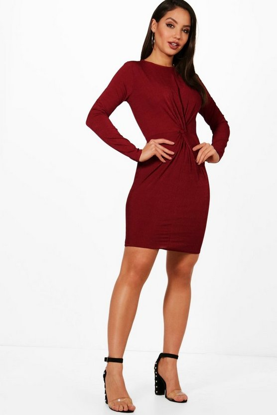 Bella Ribbed Twist Front Bodycon Dress