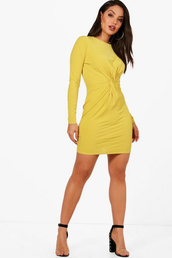 Ribbed Twist Front Bodycon Dress