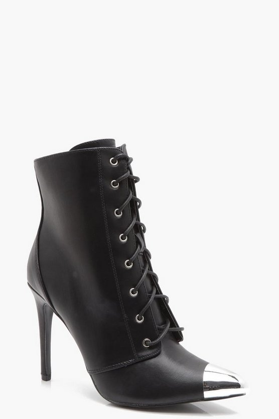 Alice Contrast Toe Cap Lace Up Stiletto Boots