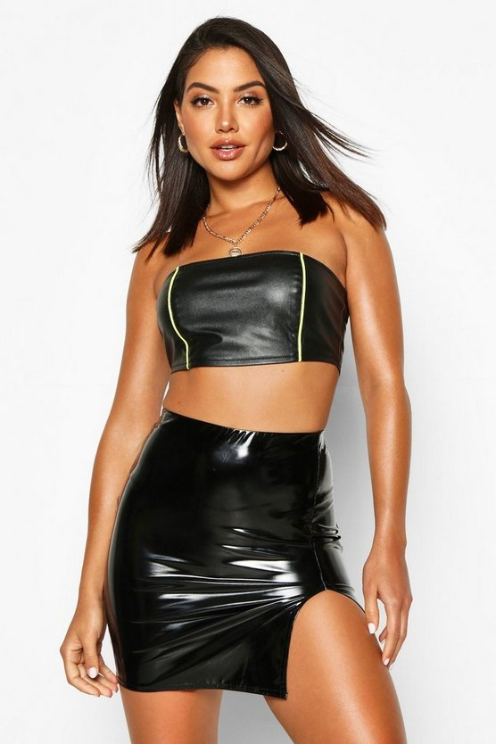 Thigh Split Vinyl Mini Skirt